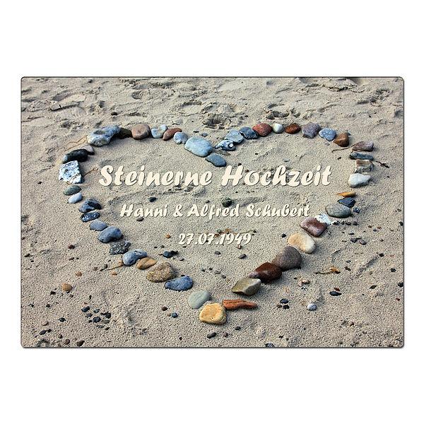 Geschenk zur Steinernen Hochzeit - Schild A4 mit individuellem Wunschtext