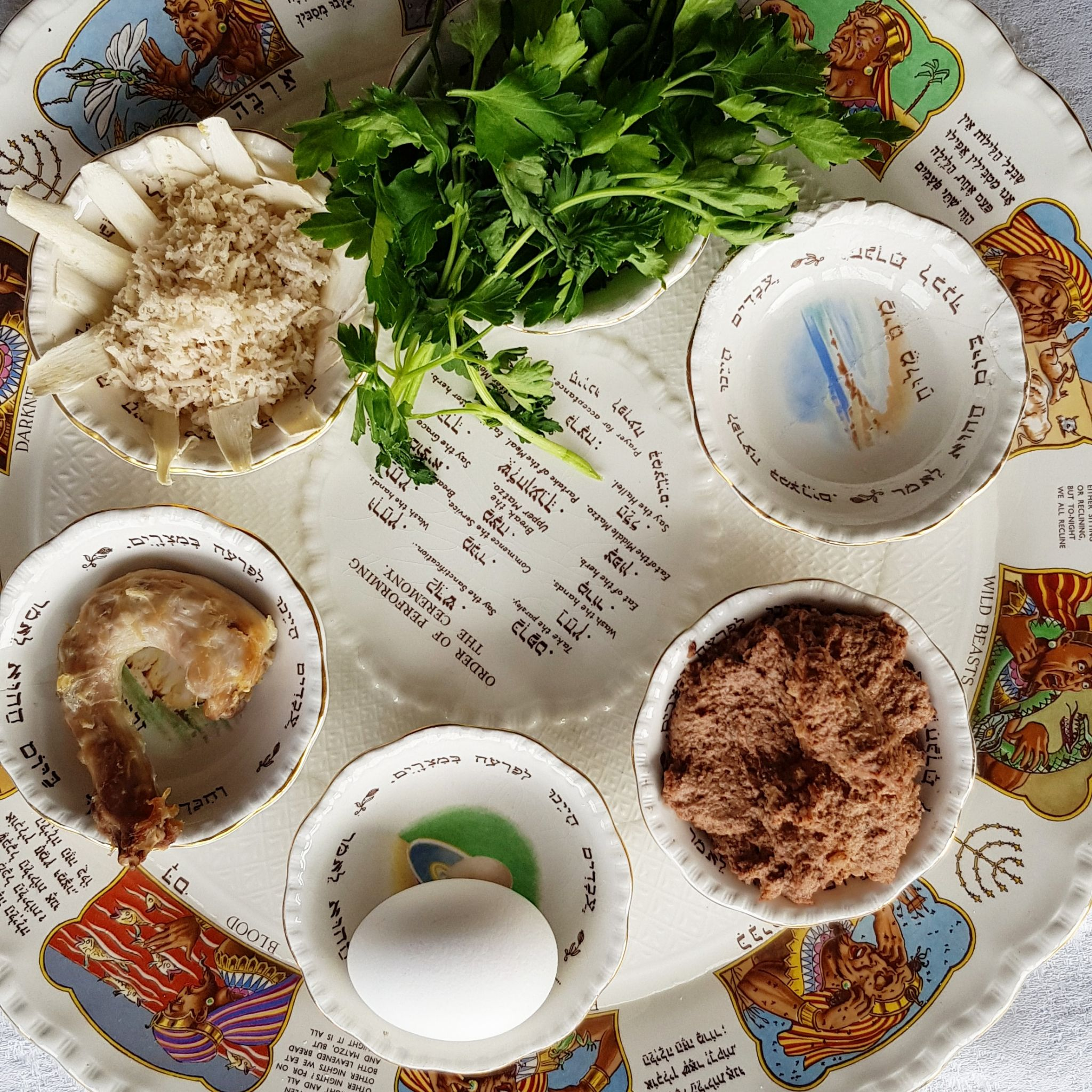 Passover food as depicted on the Passover seder plate