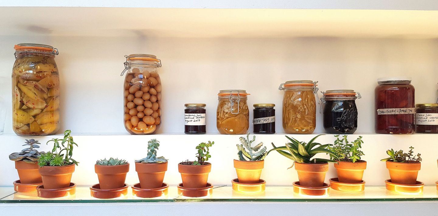 Rochelle Canteen at the Institute of Contemporary Arts (ICA) - jars of various pickles and preserves sit on the ledge.