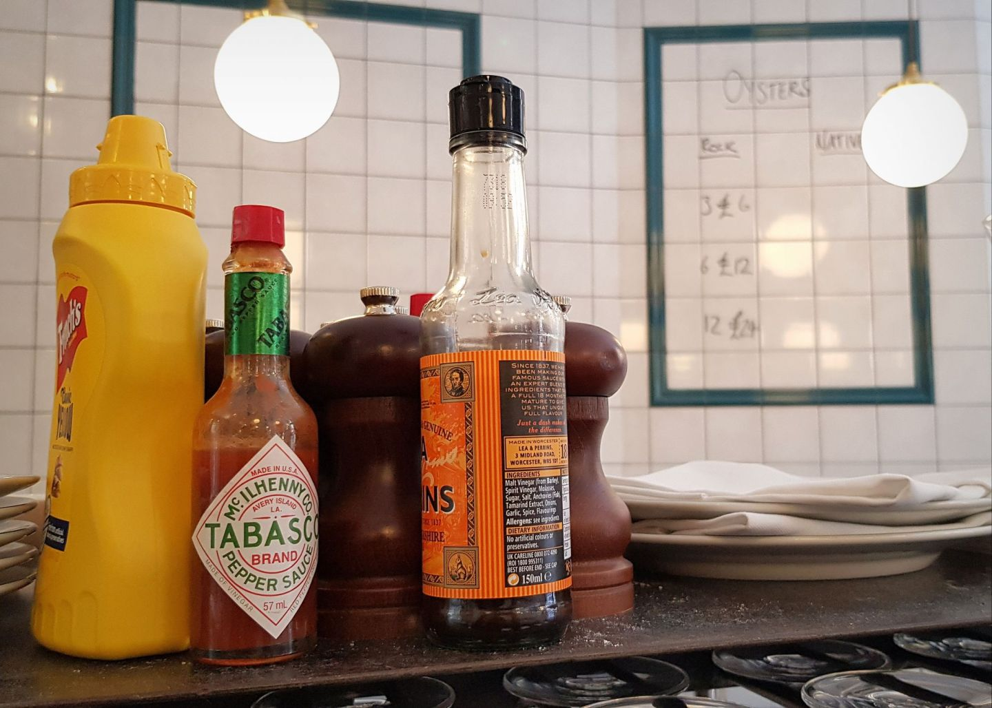 If you're looking for a London fish restaurant, look no further than Parsons, with an array of condiments to choose from.
