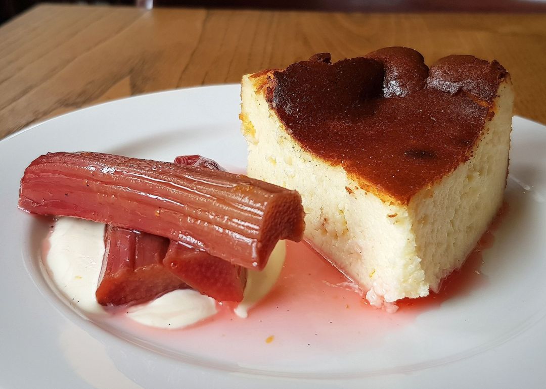 Review of Brat restaurant London, where poached rhubarb is a perfect foil for a burnt cheesecake