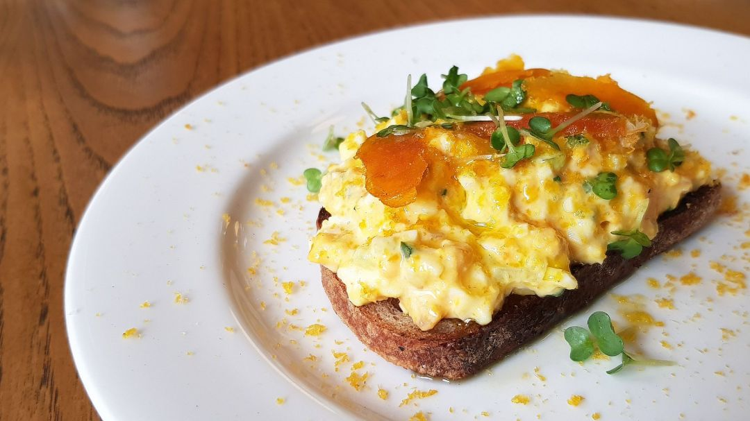 Review of Brat restaurant London, where a dish of chopped egg salad brings a ray of sunshine.