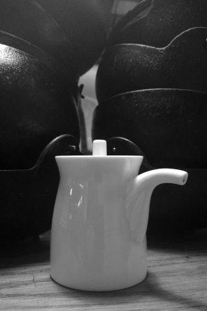 Still life photo of a jug of soy sauce at Koya Bar London