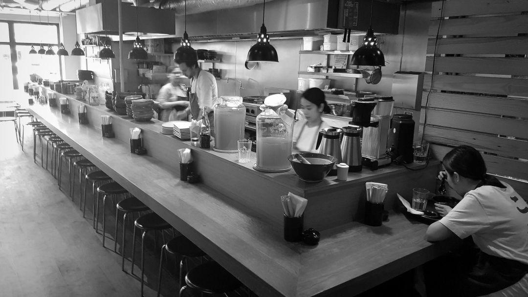 The counter at Koya Bar London at breakfast time - calm and serene.