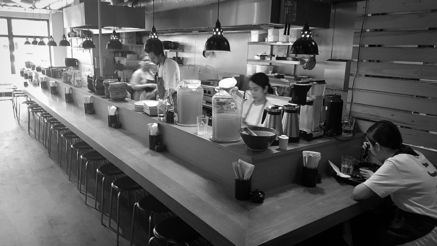 The counter at Koya Bar London at breakfast time - calm and serene.