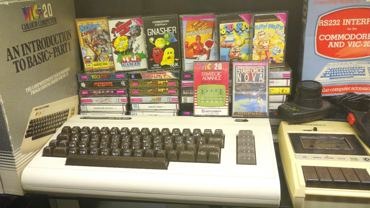 Vic 20 home computer and various video games from the 1980s.