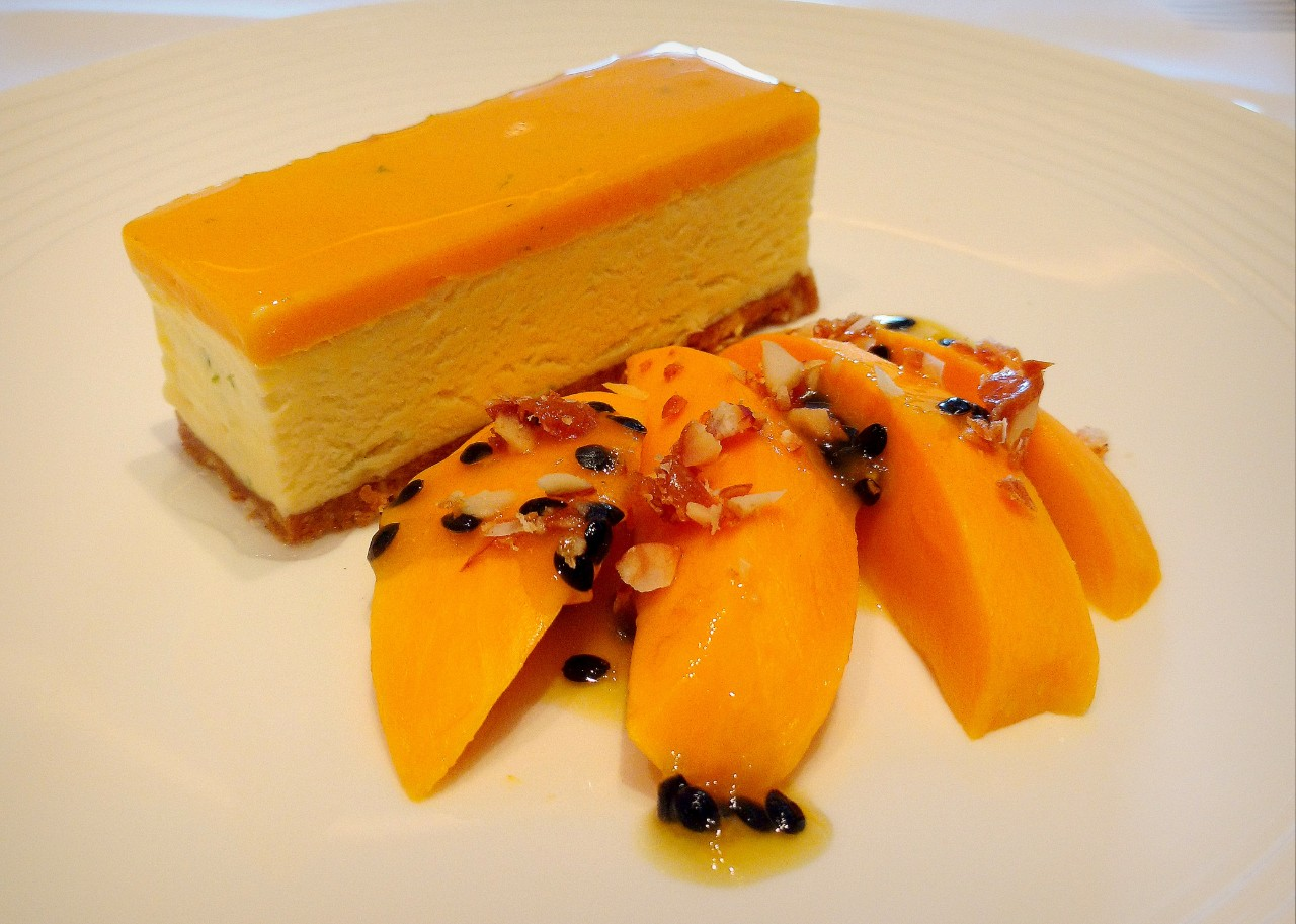 Mango cheesebake - a dish that shines bright orange from the plate