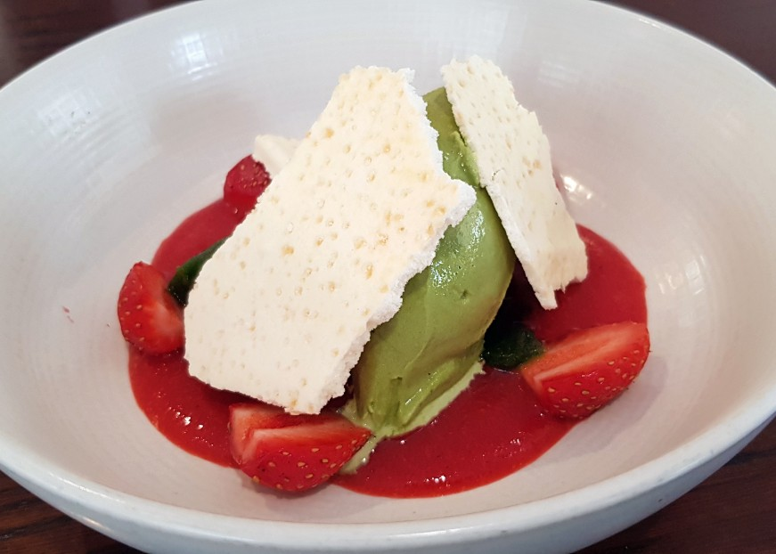 Summer pudding at Clipstone of strawberries, meringue and mint ice-cream