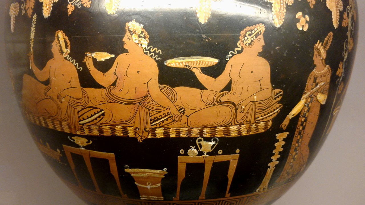 Red-figured wine-bowl dinos showing feasting at Ancient Greek symposia