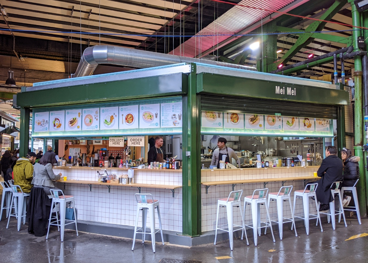 Mei Mei is a highly-acclaimed restaurant counter in Borough Market, modelled on the kopitiam coffee shops of Singapore.