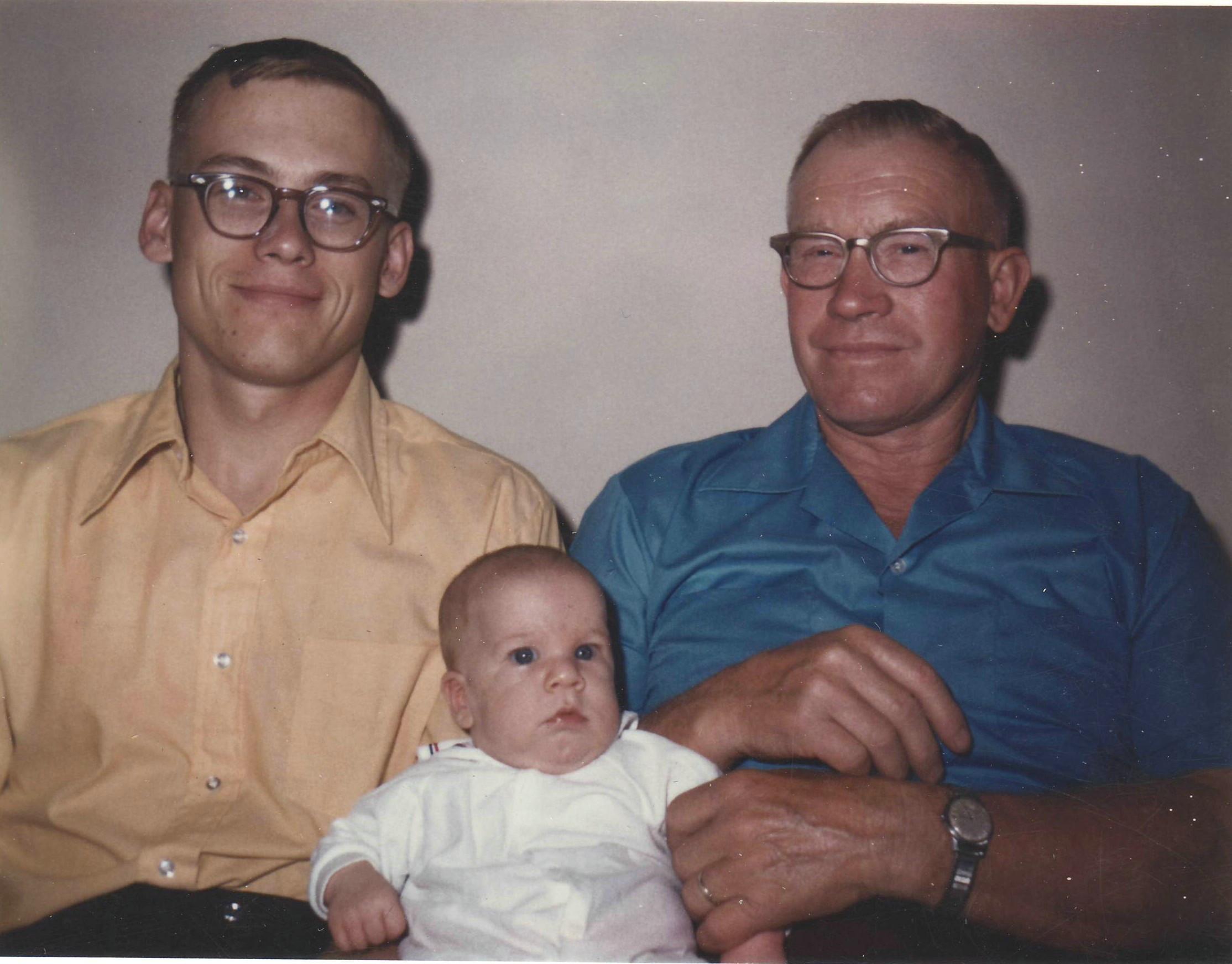 3 generations of Koelle men - Delbert, Richard, and Karl