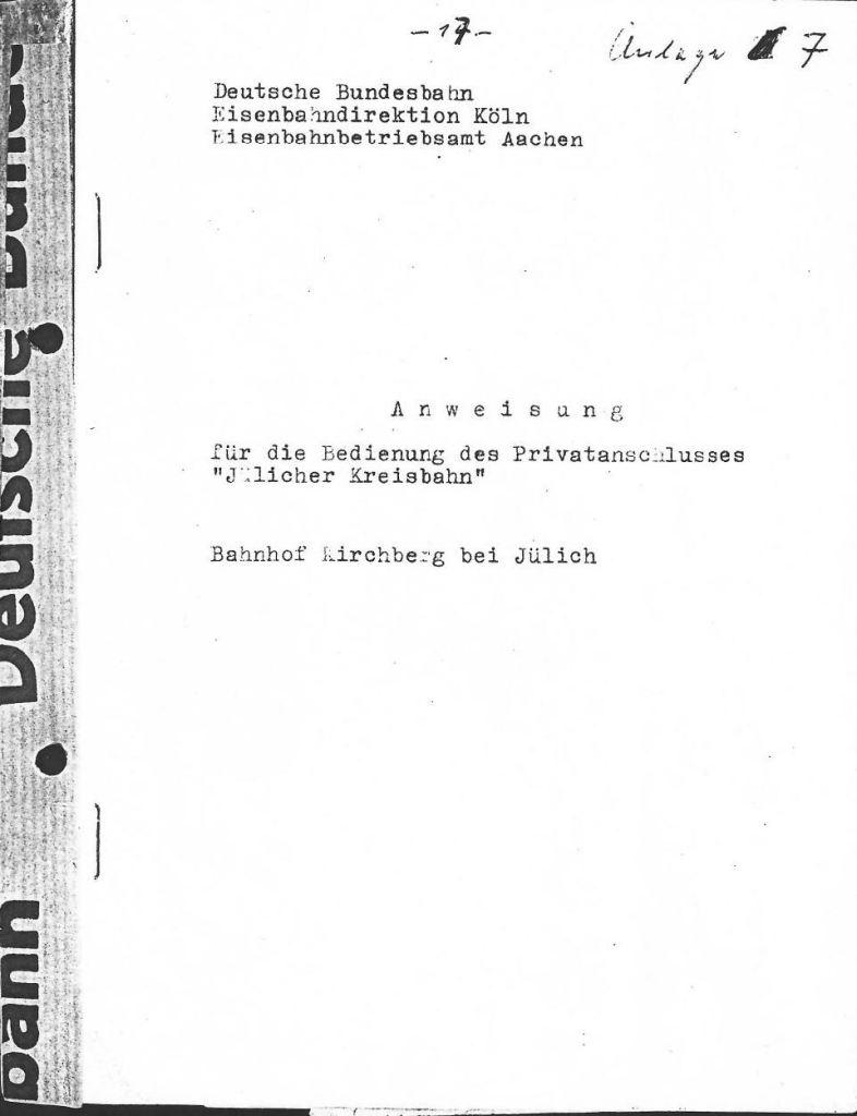 Gleisplan groß zur Bedienung Privatanschluss Titelblatt