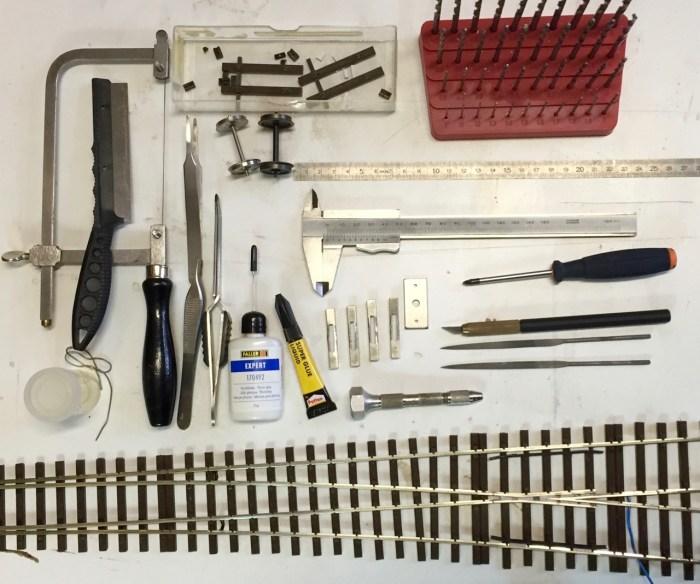 Verwendetes Werkzeug für den Bau der Hegob-Weiche