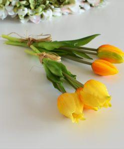 Silikónové rozkvitnuté tulipány žlté