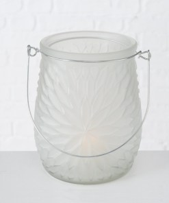 Svietnik sklenený Mela mliečny 14cm