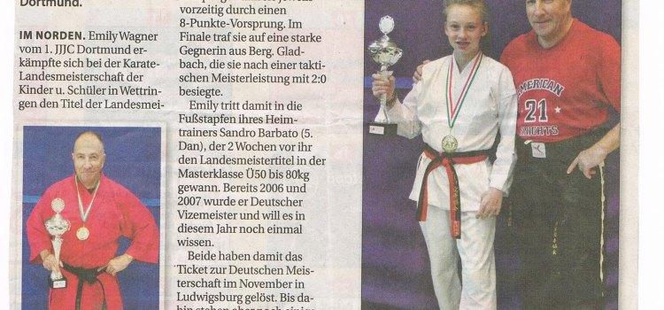 Unsere beiden Landesmeister – Emily Wagner u. Abteilungsleiter Sandro Barbato – in der Presse