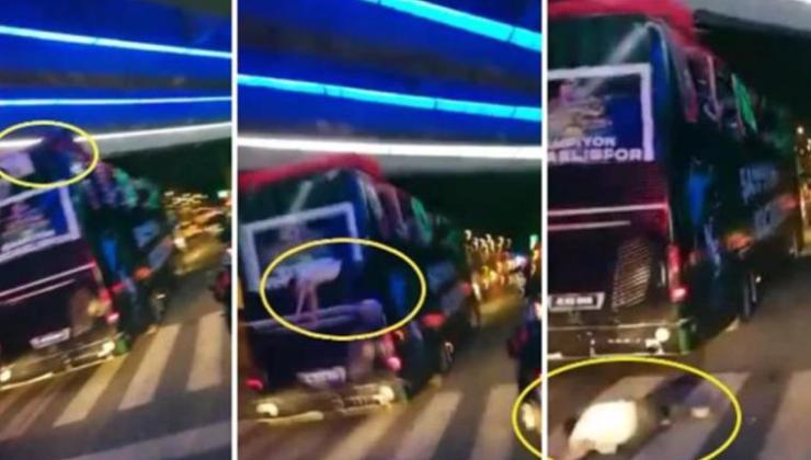 Şampiyonluk kutlayan futbolcunun feci anları! Takım otobüsünden düştü…