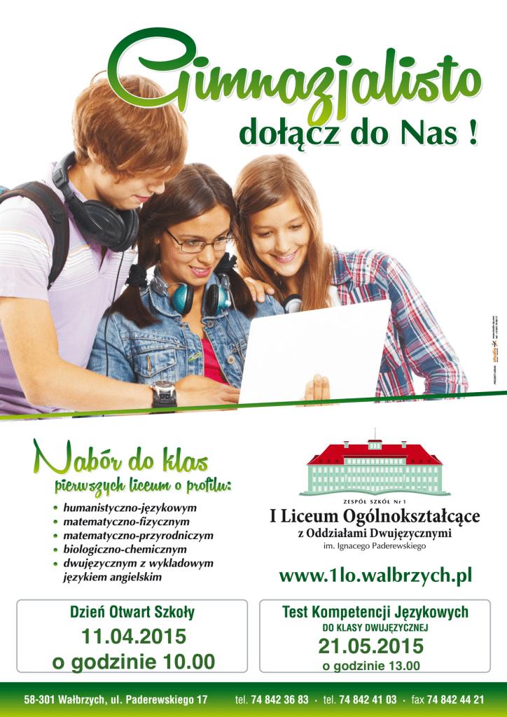 Plakat 1LO Dni Otwarte 2015