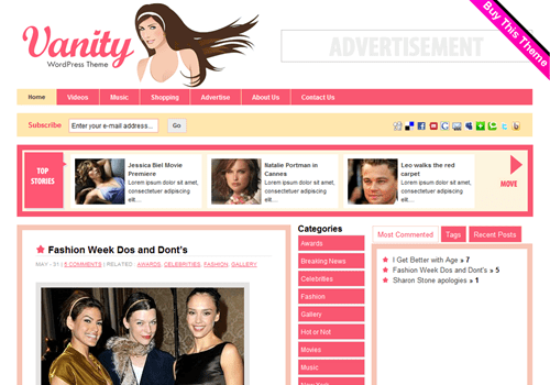 Vanity WordPress Theme