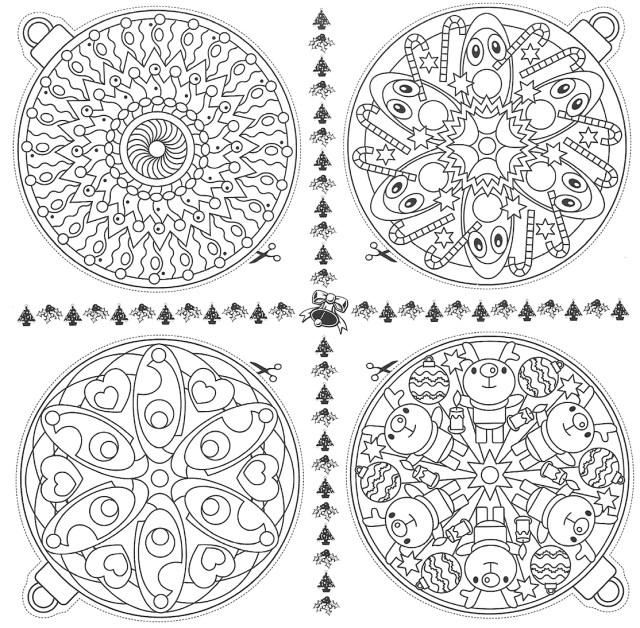 Coloriages de boules de Noel à imprimer à colorier et suspendre au