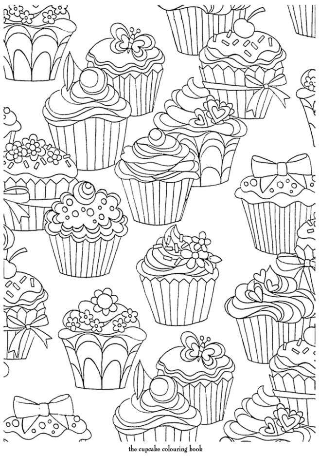 cupcakes cute patterm adult coloring colouring page