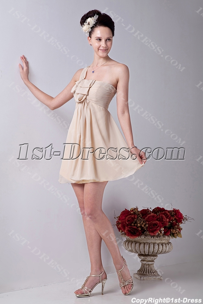 Cute Champagne Short Cocktail Dress With One Shoulder For