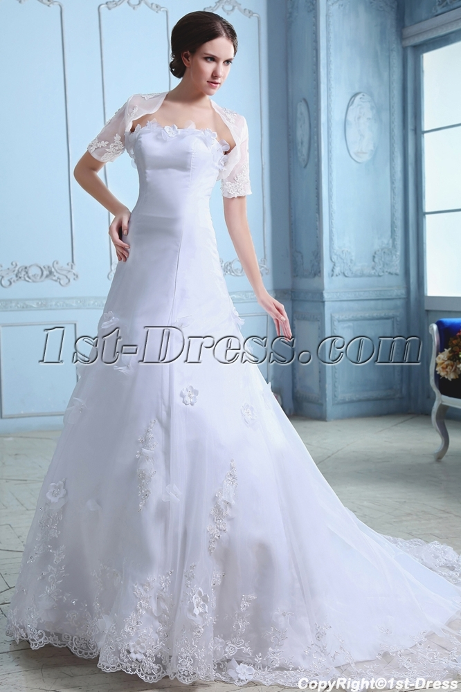 Elegant Organza A Line Princess Wedding Gown With Short