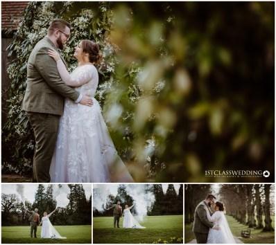 bride and groom with smoke bombs