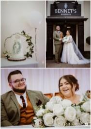 bride and groom outside bennets harpenden