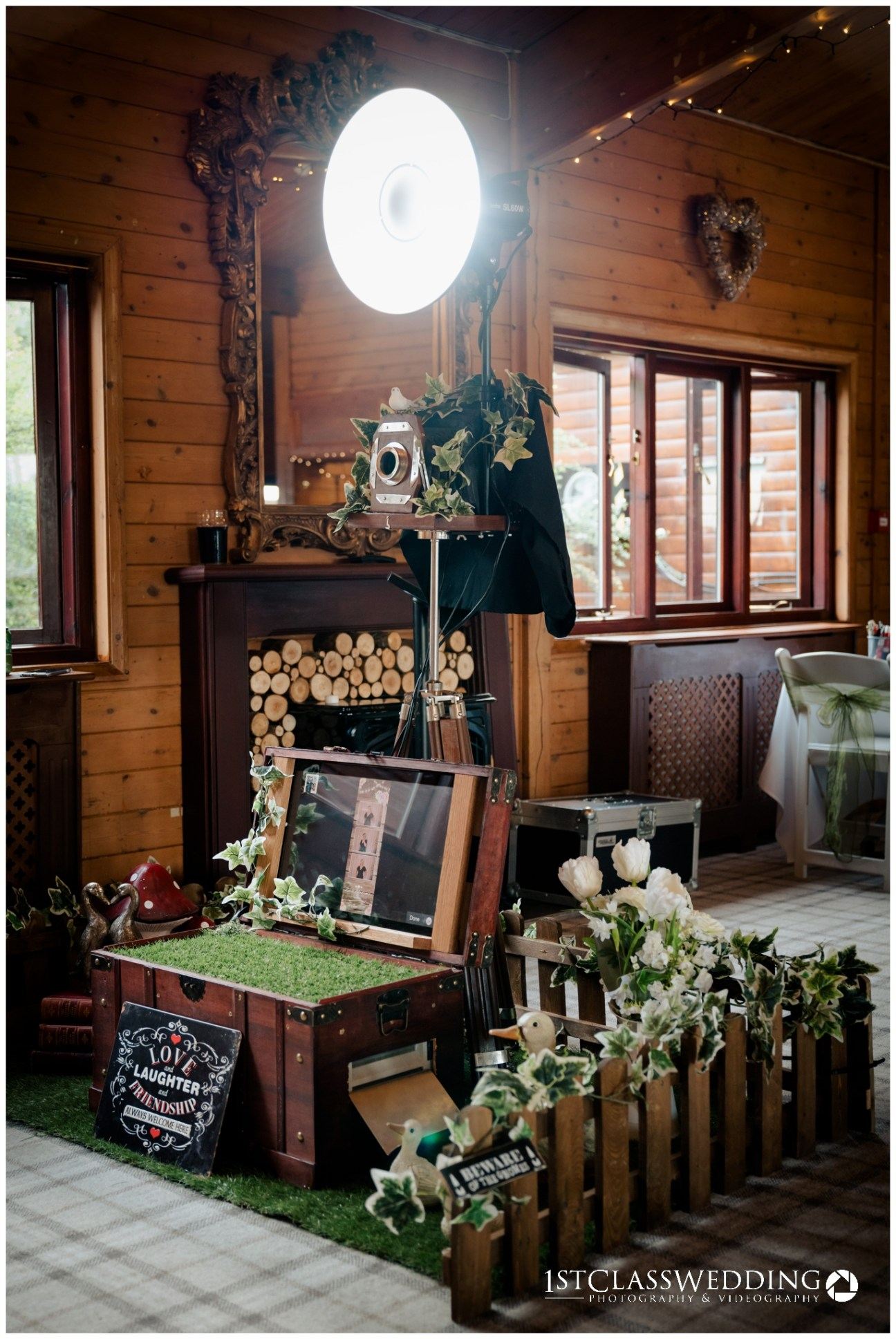 vintage photobooth setup for a wedding at Grendon Lakes