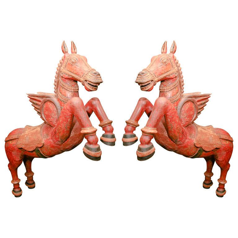 Pair Of Carved Wood Carousel Horses
