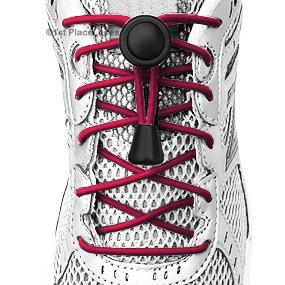 Maroon elastic no tie locking shoelaces