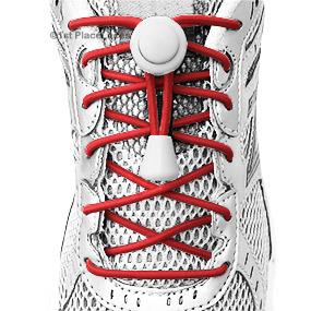 Red elastic no tie locking shoelaces