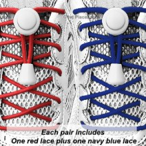 Red, White & Blue elastic no tie locking shoelaces