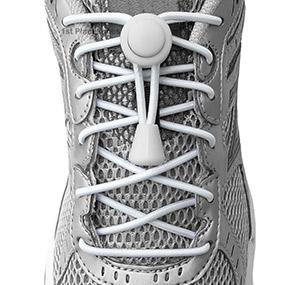 White elastic no tie locking shoelaces