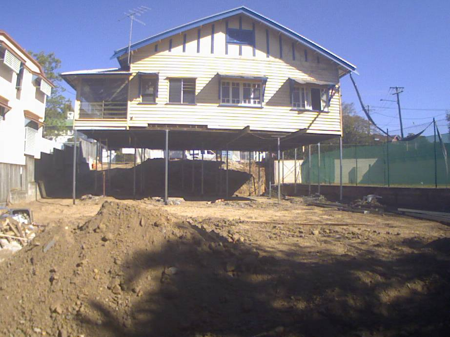 House After Raise & Posts Installed