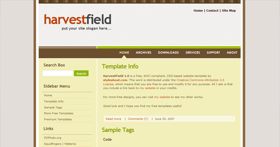 harvest-field-xhtml-css-template
