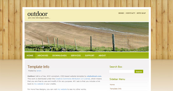 outdoor-xhtml-css-template