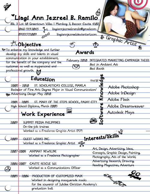 37 my creative resume by liagiannjezreel