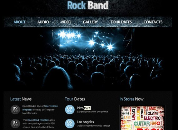Free Website Template with jQuery Gallery for Music Site