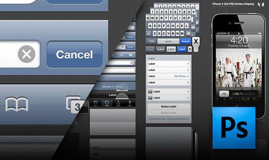 iPhone 4 GUI PSD (Retina Display)