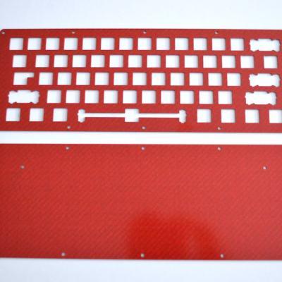 DIY LJD61UP 2-Plate Carbon Fiber Red Keyboard Kit-0