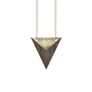 Halskæde, trekant - NOMINATIV Dark wood + Gold + Plexi