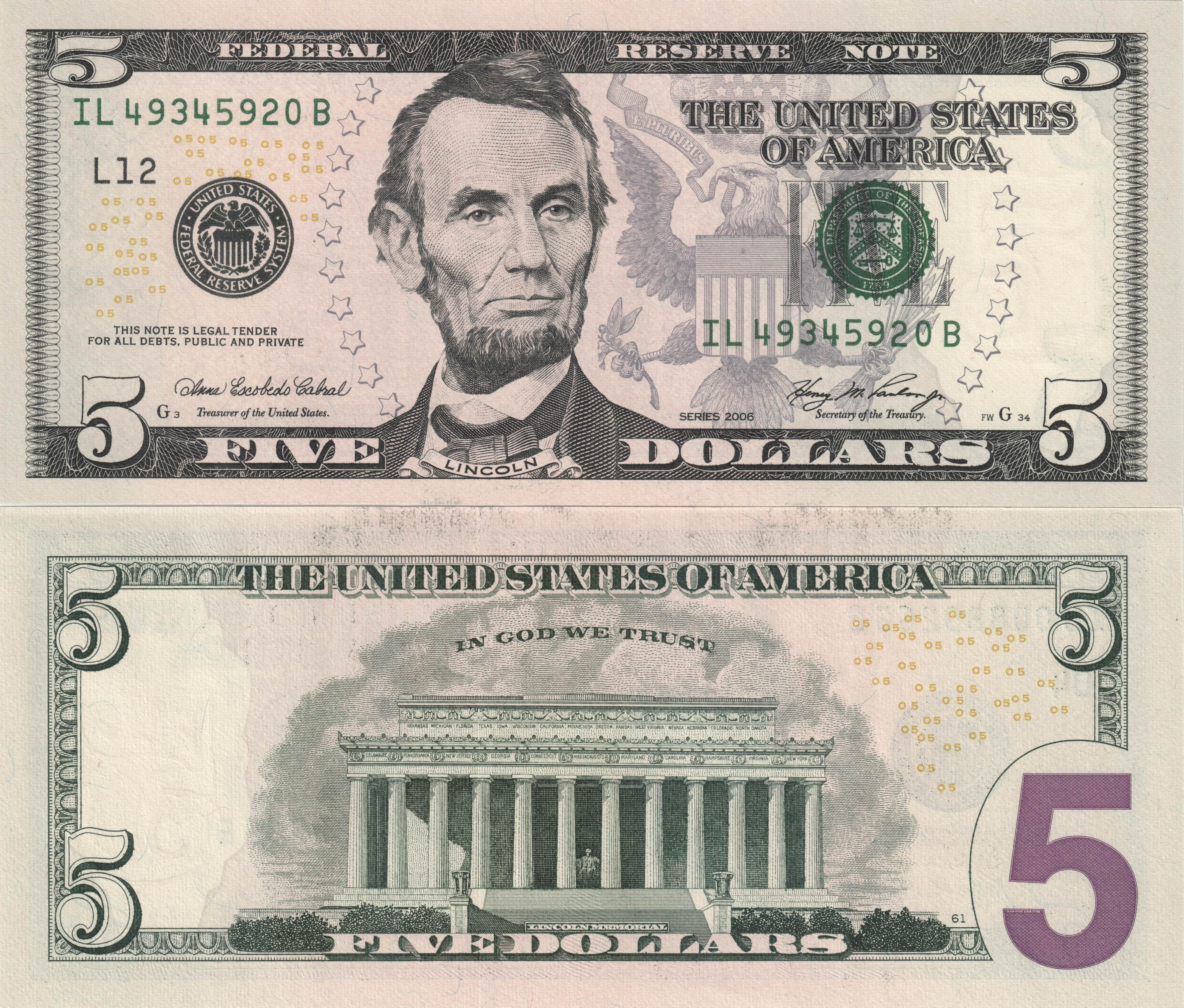 Image Dollars Paper Money 5 Dollars Money X