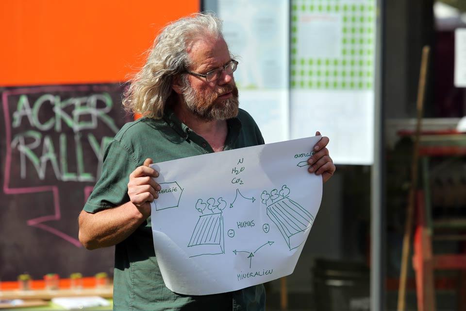 Bio-Gärtner Gerd erklärt bei der AckerRallye wie wichtig Bodenfruchtbarkeit ist