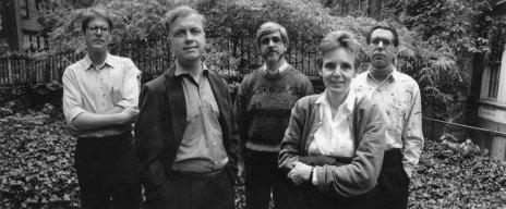 Barrett Watten, Alan Davies, Richard Blevins, Susan Howe, Ted Pearson - Photo credit: Laure Leber
