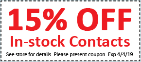 GET 15% OFF IN STOCK CONTACTS – Expires 04/04/19