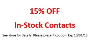 15% Off In-stock Contacts – Expires 10/31/19