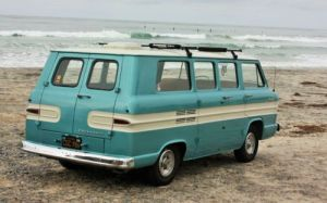 Find used Crystal Turquoise 1963 Chevrolet Chevy Greenbrier Corvair 95 restored in San Diego