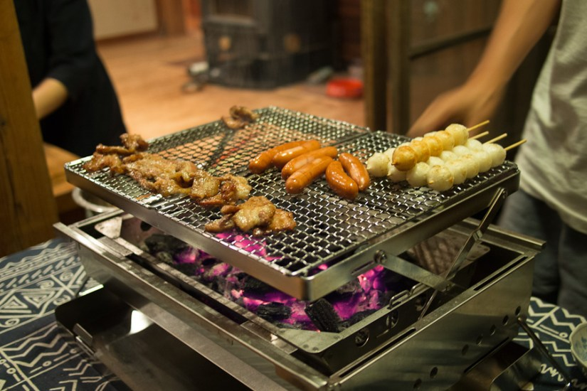 """Our """"small"""" dinner cooking at Mori-kachan's beautiful house. This was only part of the meal!"""